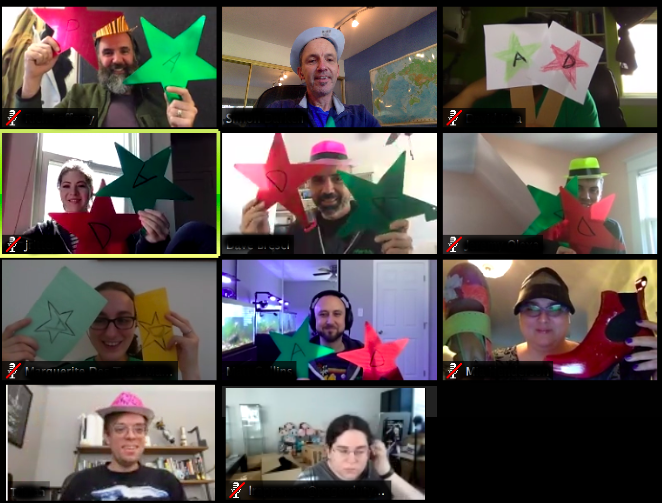 These star-shaped signs help communicate whether the team members agree or disagree to what the speaker is saying. creative ideas to boost remote employees' engagement.